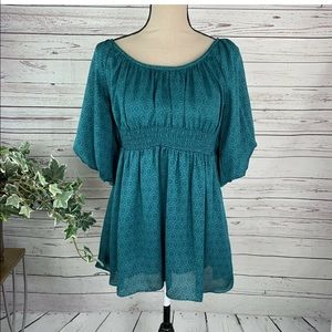 Odille Anthropologie Blouse Puff Sleeve Top Sz 6